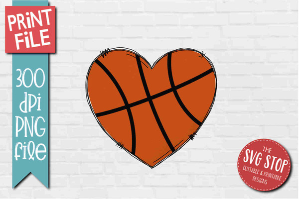 Basketball Doodle Heart - PRINT File - Sublimation Design