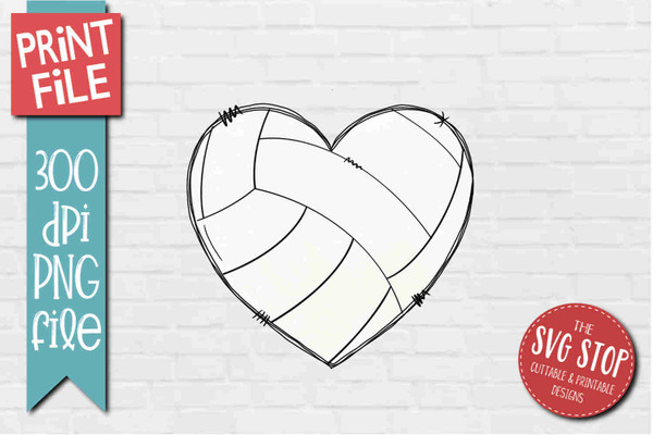 Volleyball Doodle Heart - PRINT File - Sublimation Design