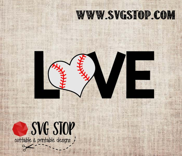 Love with Baseball Heart Cut File in SVG, DXF, JPG, PNG, and EPS