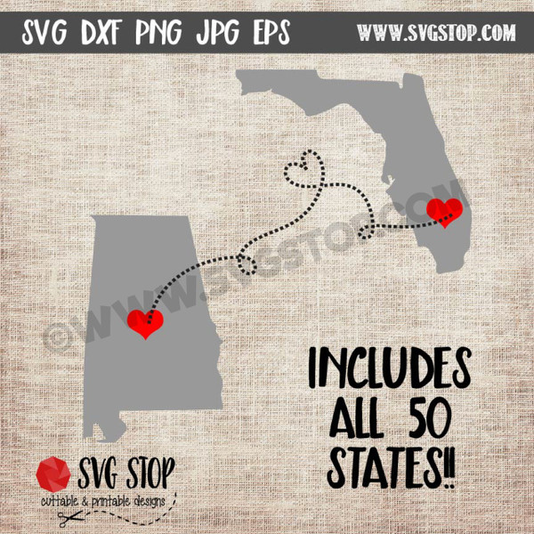 State to State Set Cut Files in SVG, DXF, JPG, PNG, and EPS