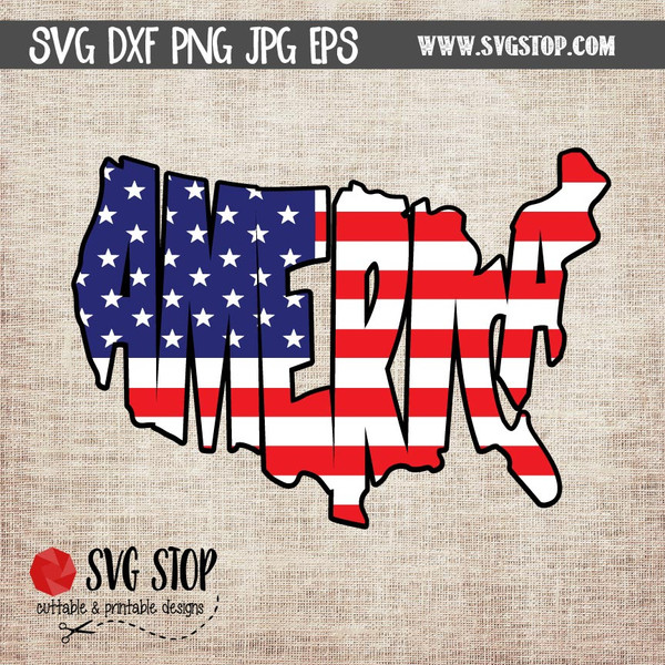 America Word Art Flag Clipart SVG Cut File Design