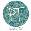 "12""x12"" Permanent Patterned Vinyl -Geometric - Teal"