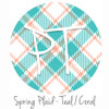 """12""""x12"""" Permanent Patterned Vinyl - Spring Plaid - Teal/Coral"""
