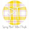 "12""x12"" Permanent Patterned Vinyl - Spring Plaid - Yellow/Purple"