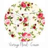 "12""x12"" Permanent Patterned Vinyl - Vintage Floral - Cream"