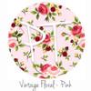 """12""""x12"""" Patterned Heat Transfer Vinyl - Vintage Floral - Pink"""