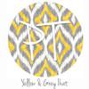 "12""x12"" Permanent Patterned Vinyl - Yellow & Grey Ikat"