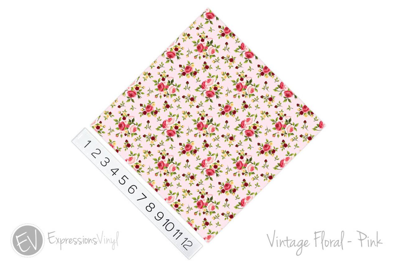 Vintage Floral Pattern Printed Heat Transfer Vinyl 12 x 12