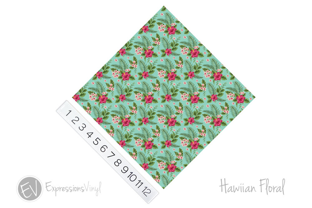 12 X12 Permanent Patterned Vinyl Hawaiian Floral Expressions