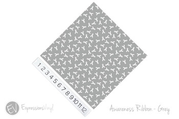 "12""x12"" Permanent Patterned Vinyl - Awareness Ribbon - Grey"