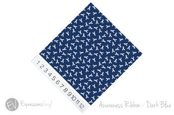 "12""x12"" Permanent Patterned Vinyl - Awareness Ribbon - Dark Blue"