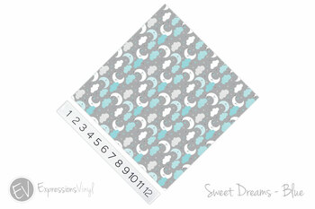 "12""x12"" Permanent Patterned Vinyl - Sweet Dreams - Blue"