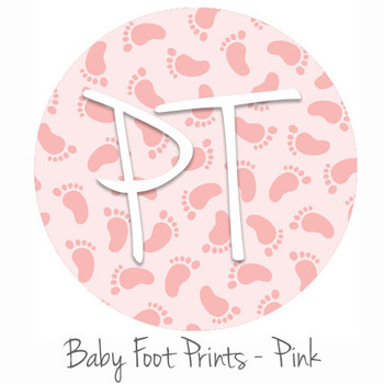 "12""x12"" Permanent Patterned Vinyl - Baby Foot Prints - Pink"