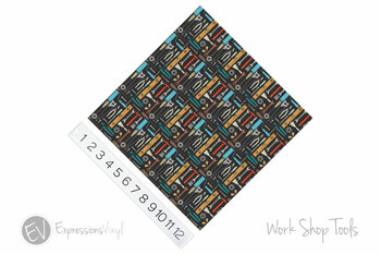 "12""x12"" Permanent Patterned Vinyl - Work Shop Tools"