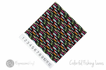 """12""""x12"""" Patterned Heat Transfer Vinyl - Colorful Fishing Lures"""