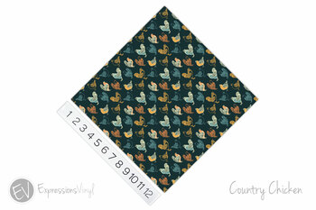 "12""x12"" Patterned Heat Transfer Vinyl - Country Chicken"