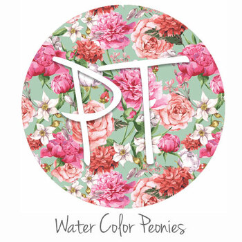 "12""x12"" Patterned Heat Transfer Vinyl - Watercolor Peonies"