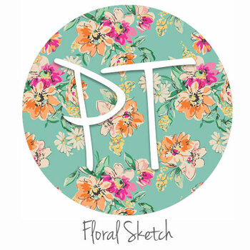 "12""x12"" Patterned Heat Transfer Vinyl - Floral Sketch"