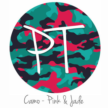 "12""x12"" Patterned Heat Transfer Vinyl - Camo - Pink & Jade"