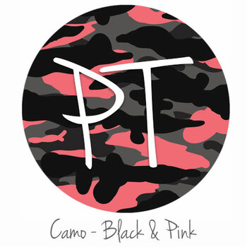 "12""x12"" Patterned Heat Transfer Vinyl - Camo - Black & Pink"