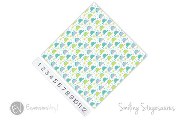 "12""x12"" Patterned Heat Transfer Vinyl - Smiling Stegosaurus"