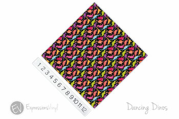 "12""x12"" Patterned Heat Transfer Vinyl - Dancing Dinos"