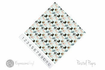 "12""x12"" Patterned Heat Transfer Vinyl - Pastel Pups"