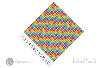 "12""x12"" Patterned Heat Transfer Vinyl - Colored Pencils"