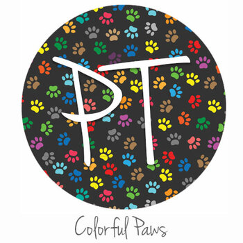"12""x12"" Permanent Patterned Vinyl - Colorful Paws"