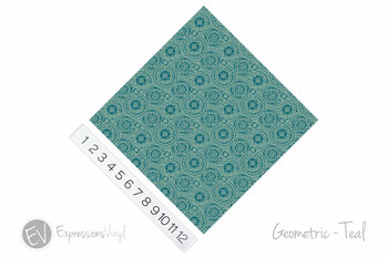 "12""x12"" Permanent Patterned Vinyl -Geometric - Teal"