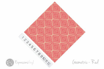 "12""x12"" Permanent Patterned Vinyl - Geometric - Red"