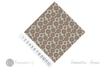 "12""x12"" Permanent Patterned Vinyl - Geometric - Green"
