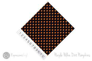 "12""x12"" Patterned Heat Transfer Vinyl - Polka Dot Pumpkin - Purple"