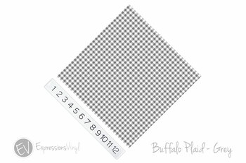 "12""x12"" Permanent Patterned Vinyl - Buffalo Plaid - Grey"