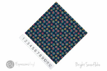 "12""x12"" Permanent Patterned Vinyl - Bright Snowflakes"