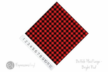 "12""x12"" Patterned Heat Transfer Vinyl - Buffalo Plaid Large - Bright Red"