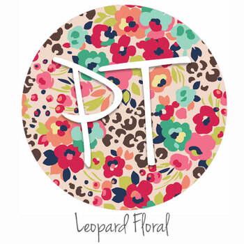 "12""x12"" Patterned Heat Transfer Vinyl - Leopard Floral"