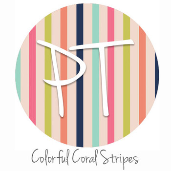 "12""x12"" Permanent Patterned Vinyl - Colorful Coral Stripes"
