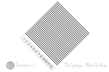 "12""x12"" Permanent Patterned Vinyl - Thin Stripe Black & White"