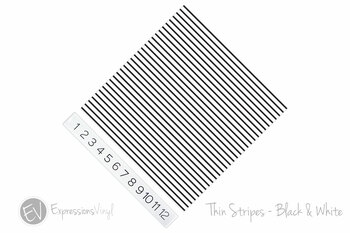 "12""x12"" Patterned Heat Transfer Vinyl - Thin Stripe Black & White"