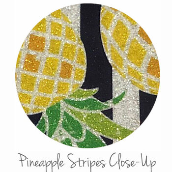 "12""x12"" Permanent Glitter  Vinyl - Pineapple Stripes"