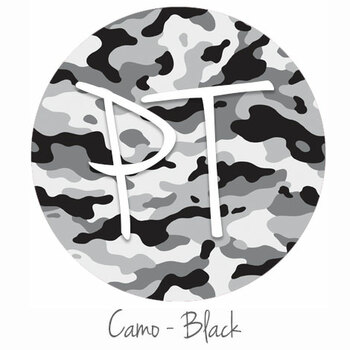 "12""x12"" Permanent Patterned Vinyl - Camo Black"