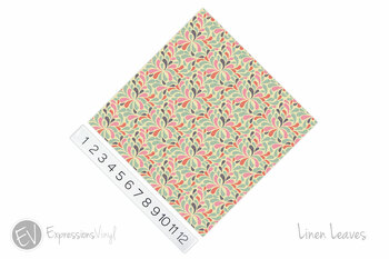 "12""x12"" Permanent Patterned Vinyl - Linen Leaves"