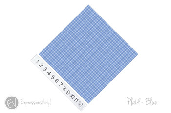 "12""x12"" Permanent Patterned Vinyl - Plaid Blue"