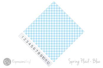 "12""x12"" Permanent Patterned Vinyl - Spring Plaid - Blue"