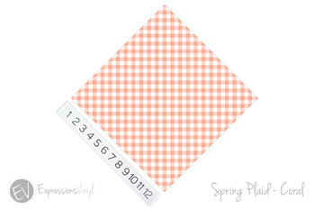 "12""x12"" Permanent Patterned Vinyl - Spring Plaid - Coral"