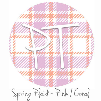 "12""x12"" Permanent Patterned Vinyl - Spring Plaid - Pink/Coral"