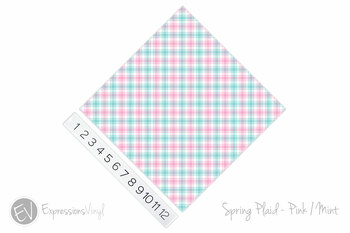 "12""x12"" Permanent Patterned Vinyl - Spring Plaid - Pink/Mint"
