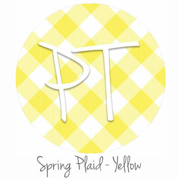 "12""x12"" Permanent Patterned Vinyl - Spring Plaid - Yellow"