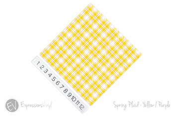 "12""x12"" Permanent Patterned Vinyl - Spring Plaid - Yellow/Purple"